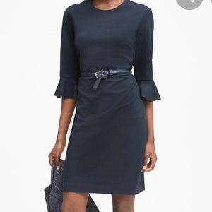 Black Ponte Flutter Sleeve Dress
